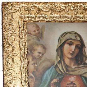 Print on wood, Sacred Heart of Mary and Jesus, Morgari s2