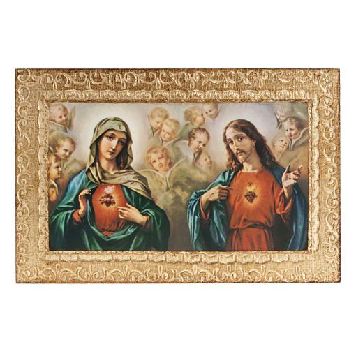 Print on wood, Sacred Heart of Mary and Jesus, Morgari 1