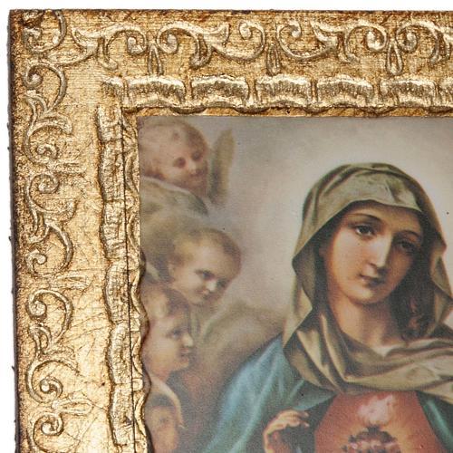 Print on wood, Sacred Heart of Mary and Jesus, Morgari 2