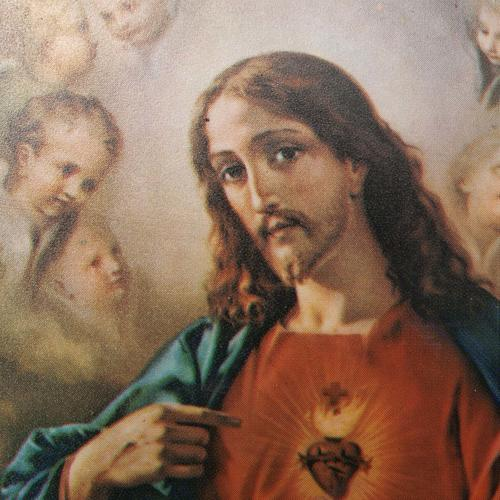 Druk drewno święte Serce Jezusa i Maryi 3