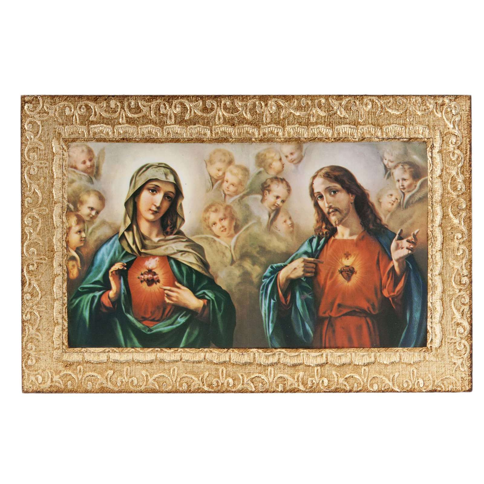Print on wood, Sacred Heart of Mary and Jesus, Morgari 3