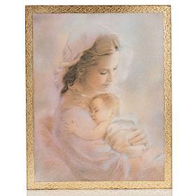 Druckbild aus Holz Madonna mit Kind R. Blanc s1