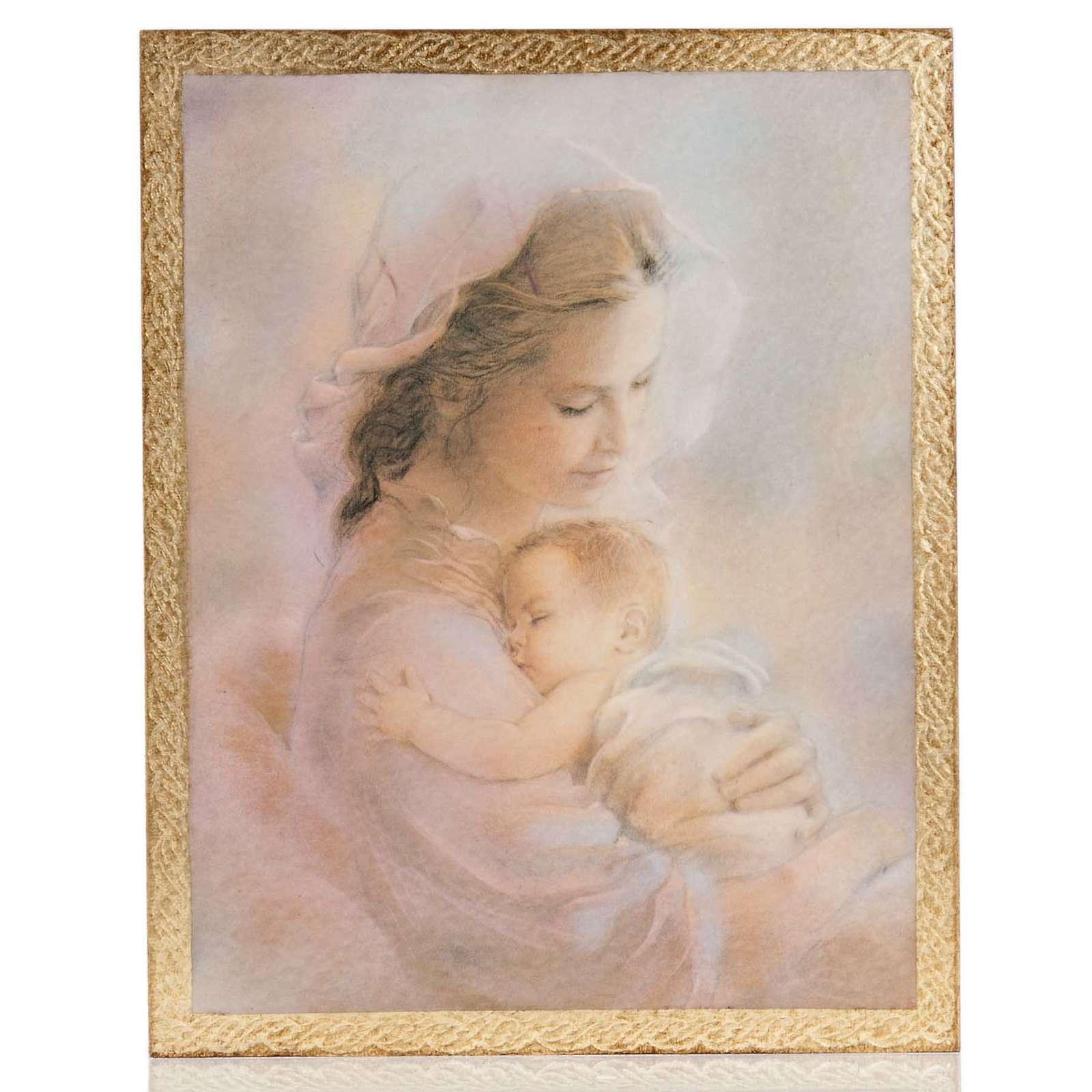 Cuadro madera imagen Virgen con Niño fondo nubes 3