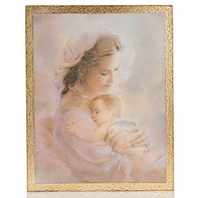 Cuadro madera imagen Virgen con Niño fondo nubes s1