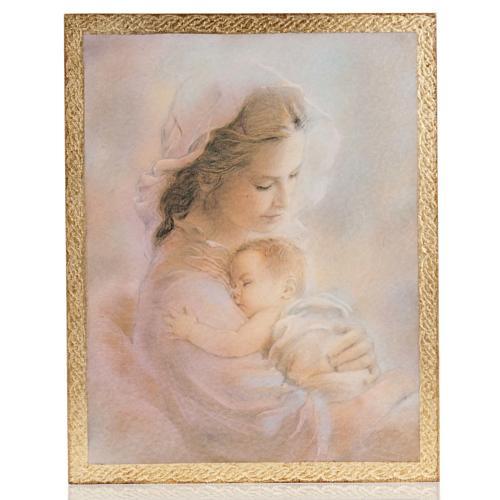 Cuadro madera imagen Virgen con Niño fondo nubes 1