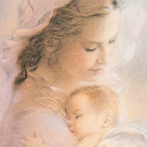 Cuadro madera imagen Virgen con Niño fondo nubes 2