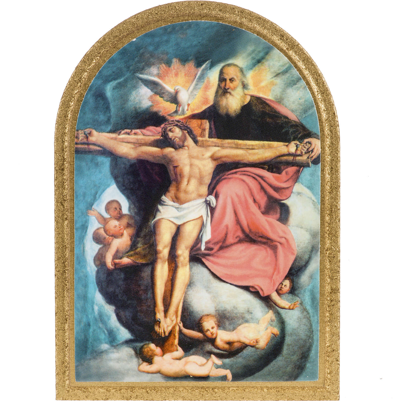 Druckbild auf Holz Allerheiligste Trinität De Sacchis 15x11 cm 3