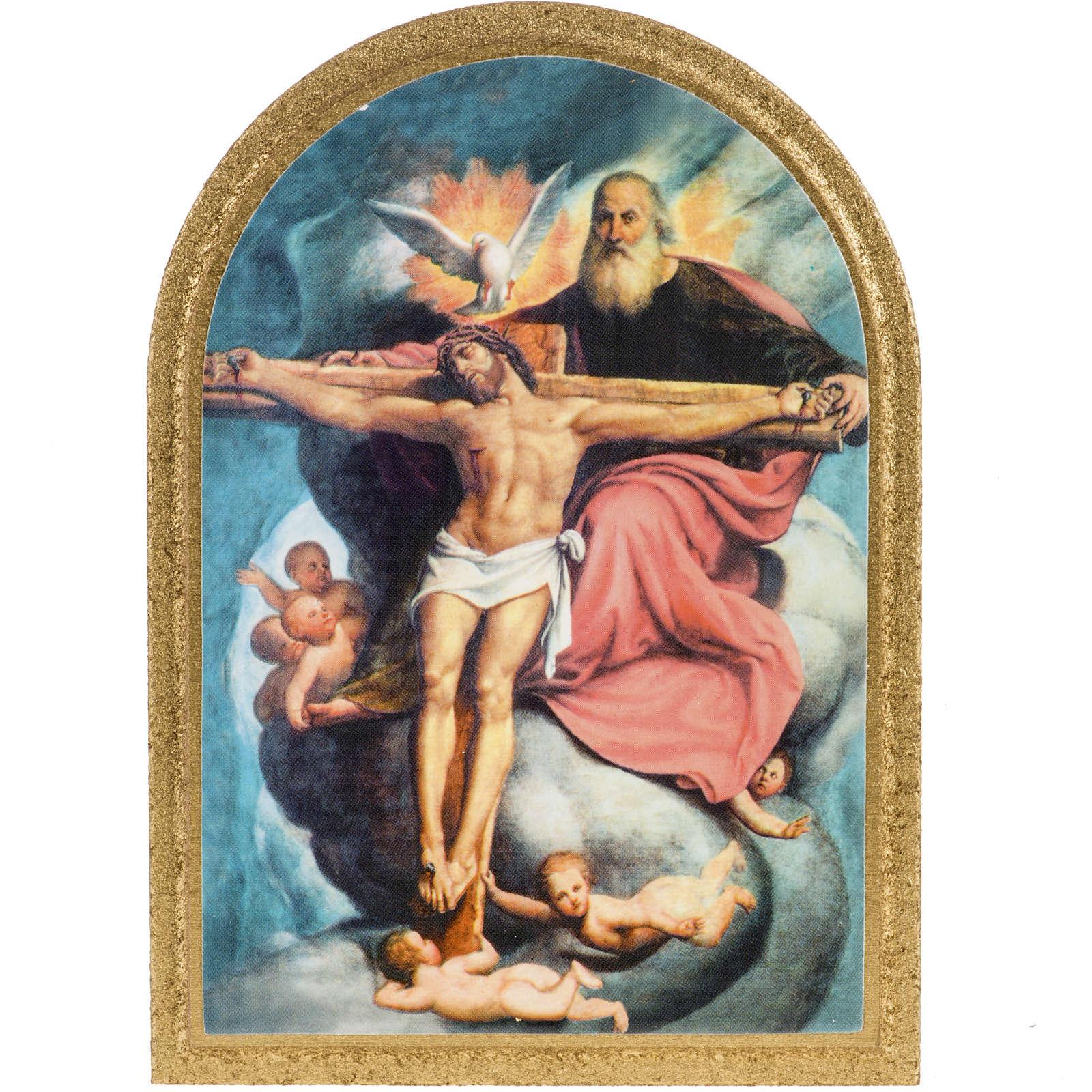 Holy Trinity De Sacchis print on wood 15x11 3
