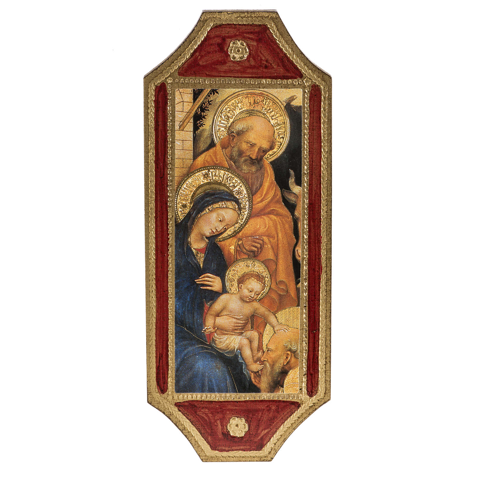 Print on wood, Nativity with red frame 18.5x7cm 3