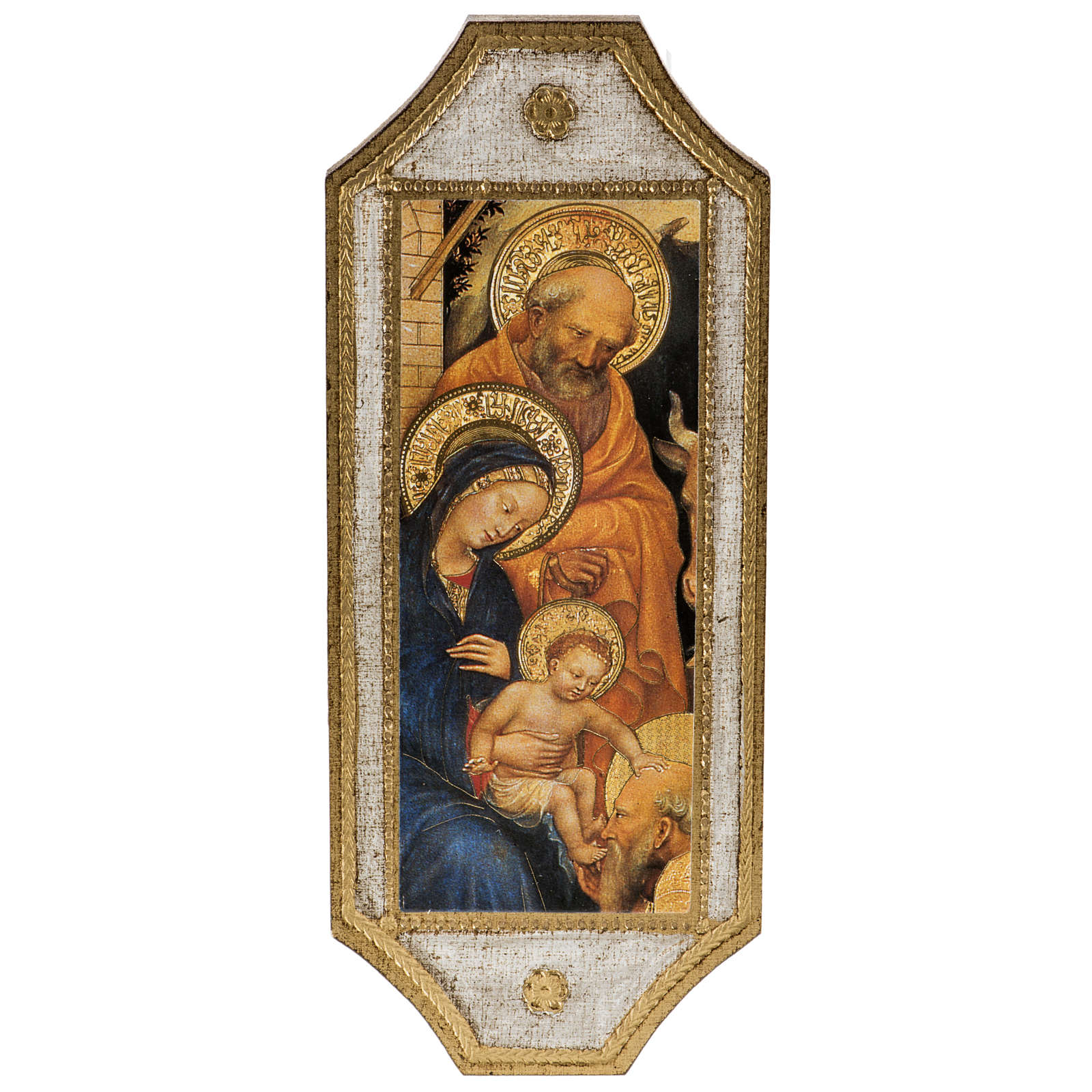 Print on wood, Nativity with white frame 18.5x7cm 3