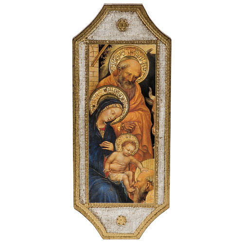 Print on wood, Nativity with white frame 18.5x7cm 1