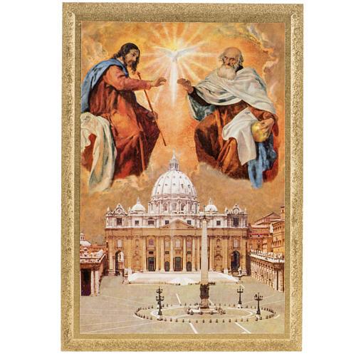 Estampa madera SS. Trinidad y Basílica S. Pedro 16x11 1