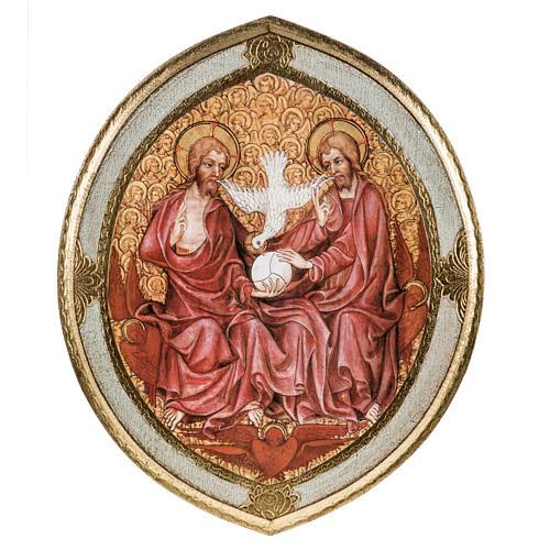 STOCK Stampa legno SS. Trinità ovale Anno della Fede 28x24 1