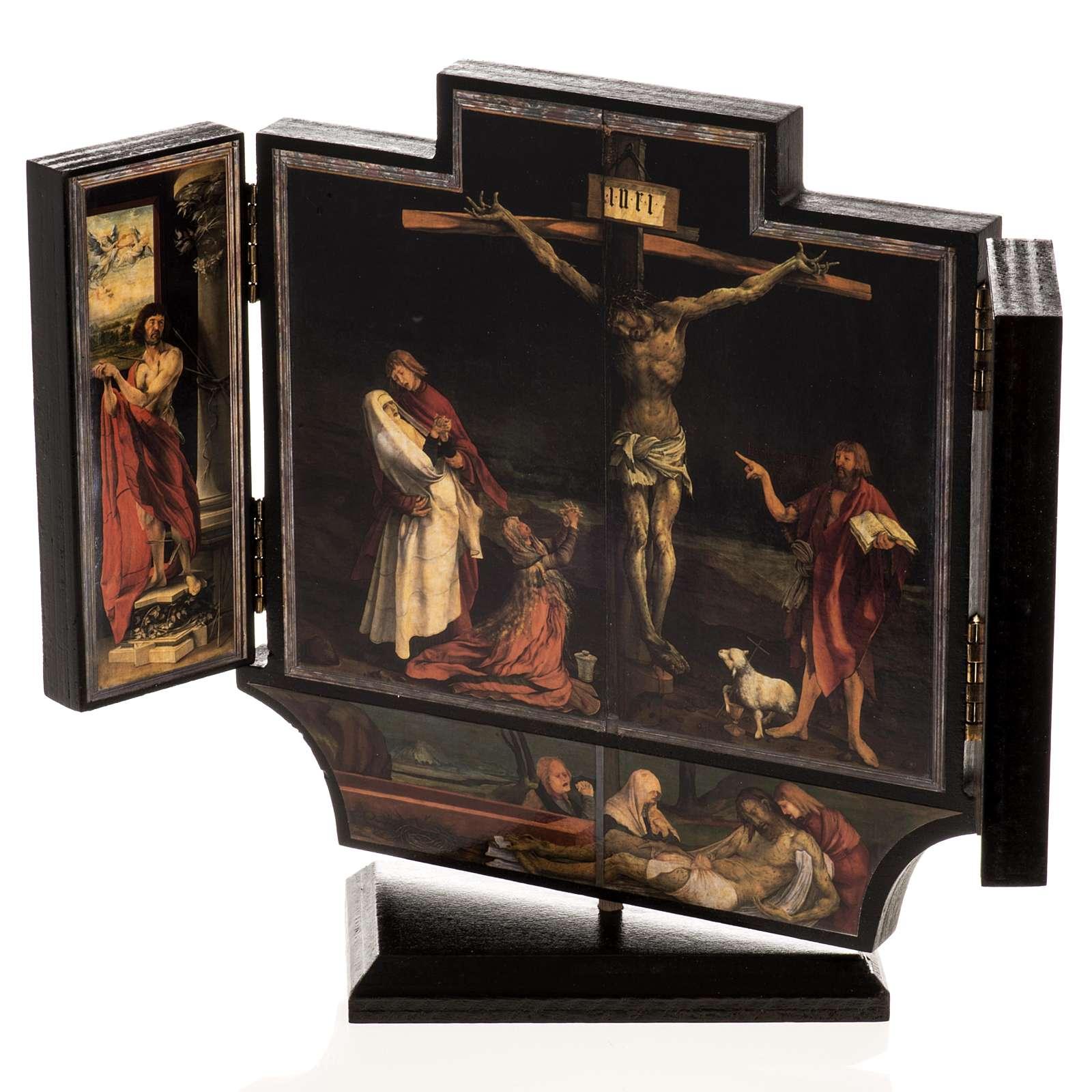 Trittico altare di Issenheim legno stampa 21x30 con base 3