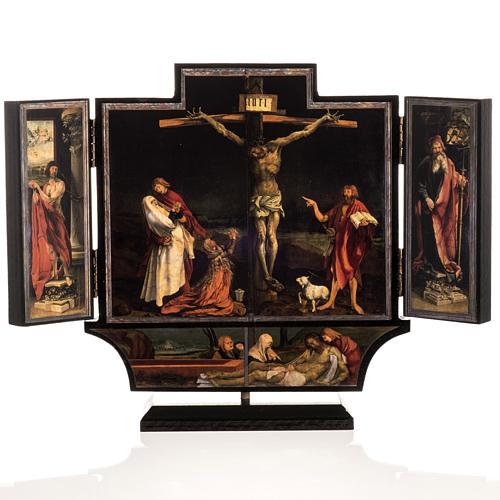 Trittico altare di Issenheim legno stampa 21x30 con base 1