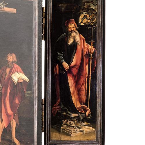 Trittico altare di Issenheim legno stampa 21x30 con base 2