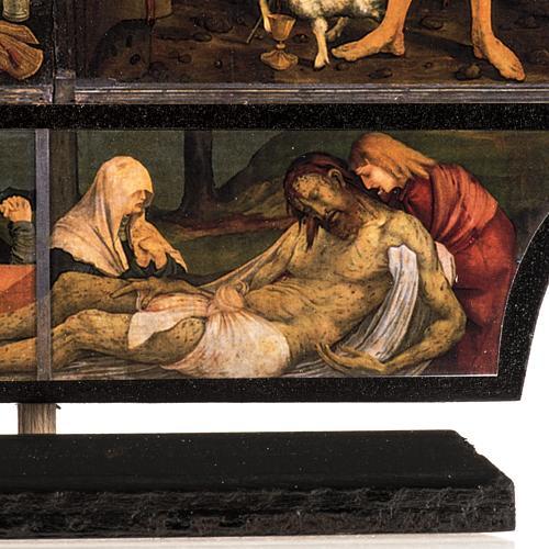 Trittico altare di Issenheim legno stampa 21x30 con base 5