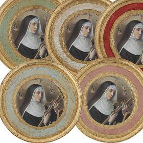 Bilder, Miniaturen, Drucke: Rundes Druckbild auf Holz Heilige Rita