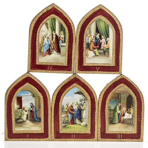 Stampa su legno Misteri Gaudiosi 5 quadri 1
