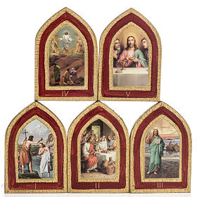 Cuadros, estampas y manuscritos iluminados: Estampa sobre madera Misterios de la Luz 5 cuadros