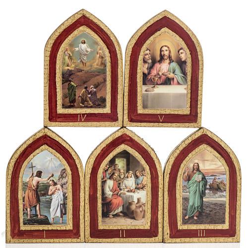 Mystères Lumineux 5 tableaux bois imprimé 1