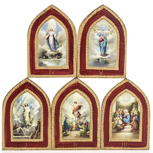 Stampa su legno Misteri Gloriosi 5 quadri 1