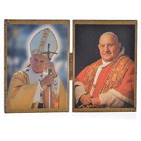 Tableaux, gravures, manuscrit enluminé: Diptyque Papes Jean Paul II et Jean XXIII