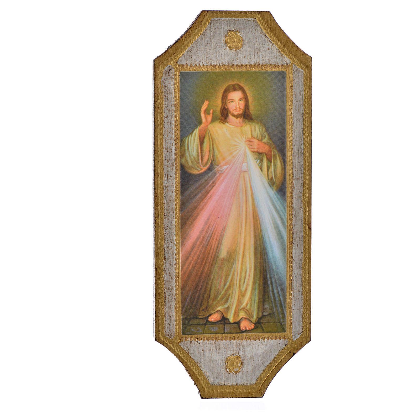 Image Divine Miséricorde imprimée bois 18,5x7,5cm 3