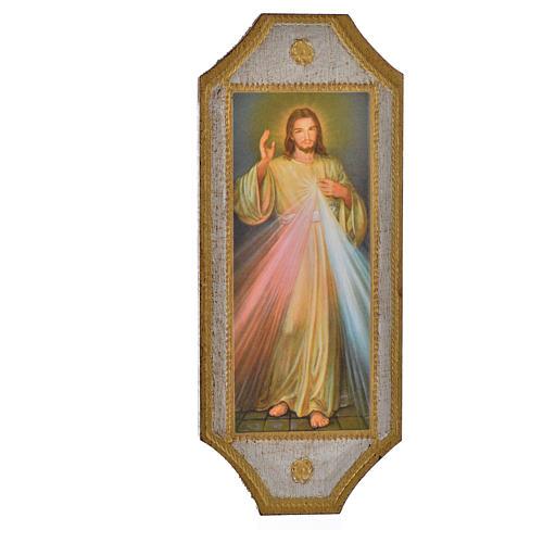 Divine Mercy print on wood 18.5x7.5 cm 1