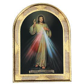 Tableaux, gravures, manuscrit enluminé: Image Divine Miséricorde imprimée sur bois 40x30cm