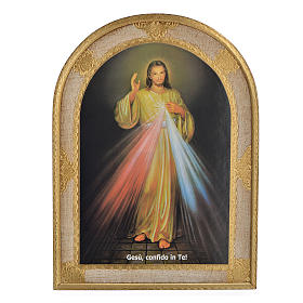 Paintings, printings, illuminated manuscripts: Divine Mercy print on wood 40x30 cm