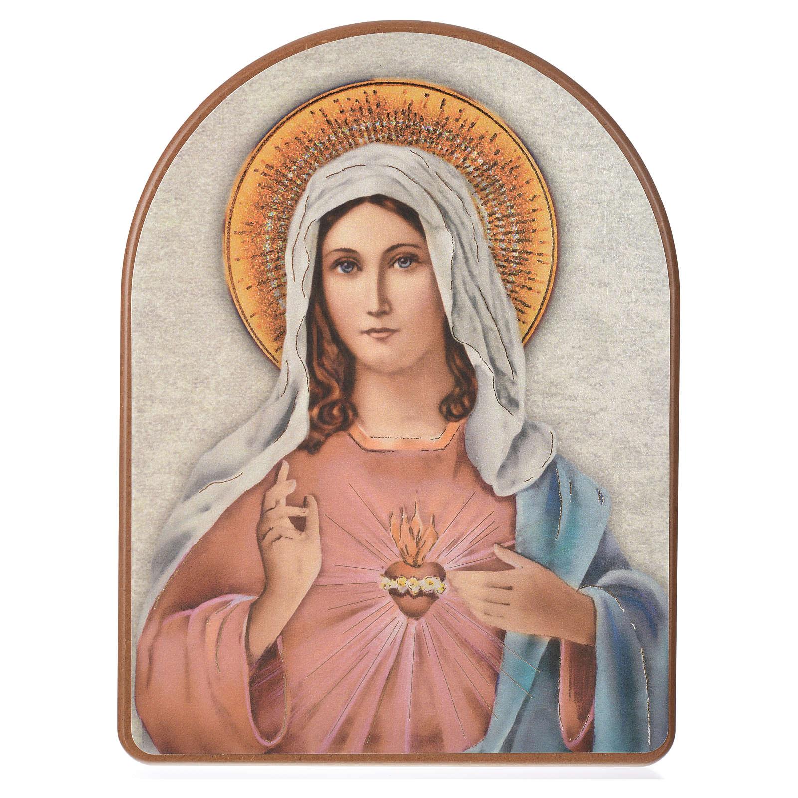 Stampa su legno 15x20cm Sacro Cuore Maria 3