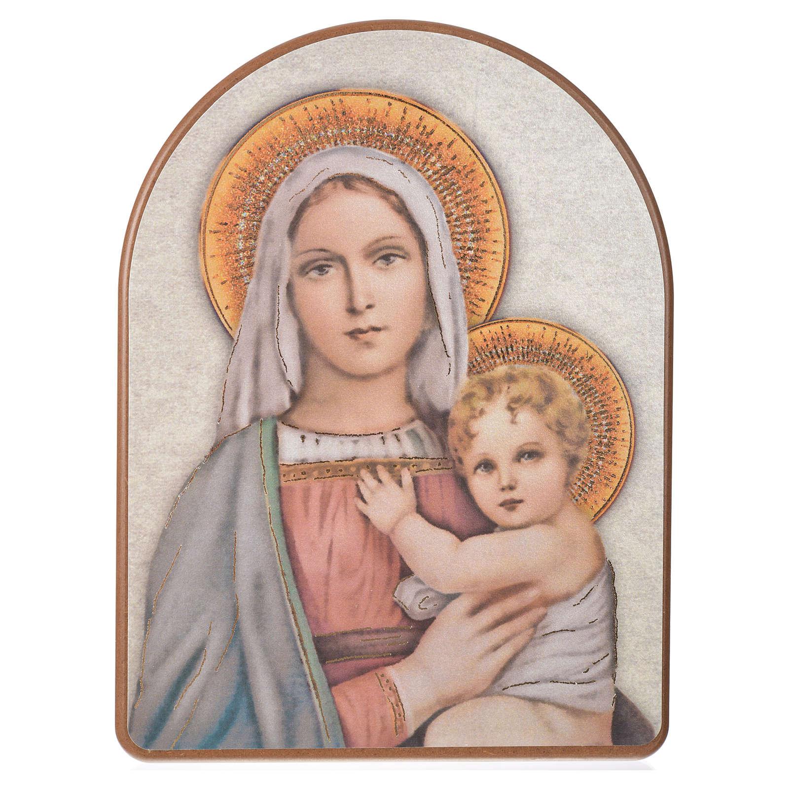 Stampa su legno 15x20cm Madonna con Bambino 3