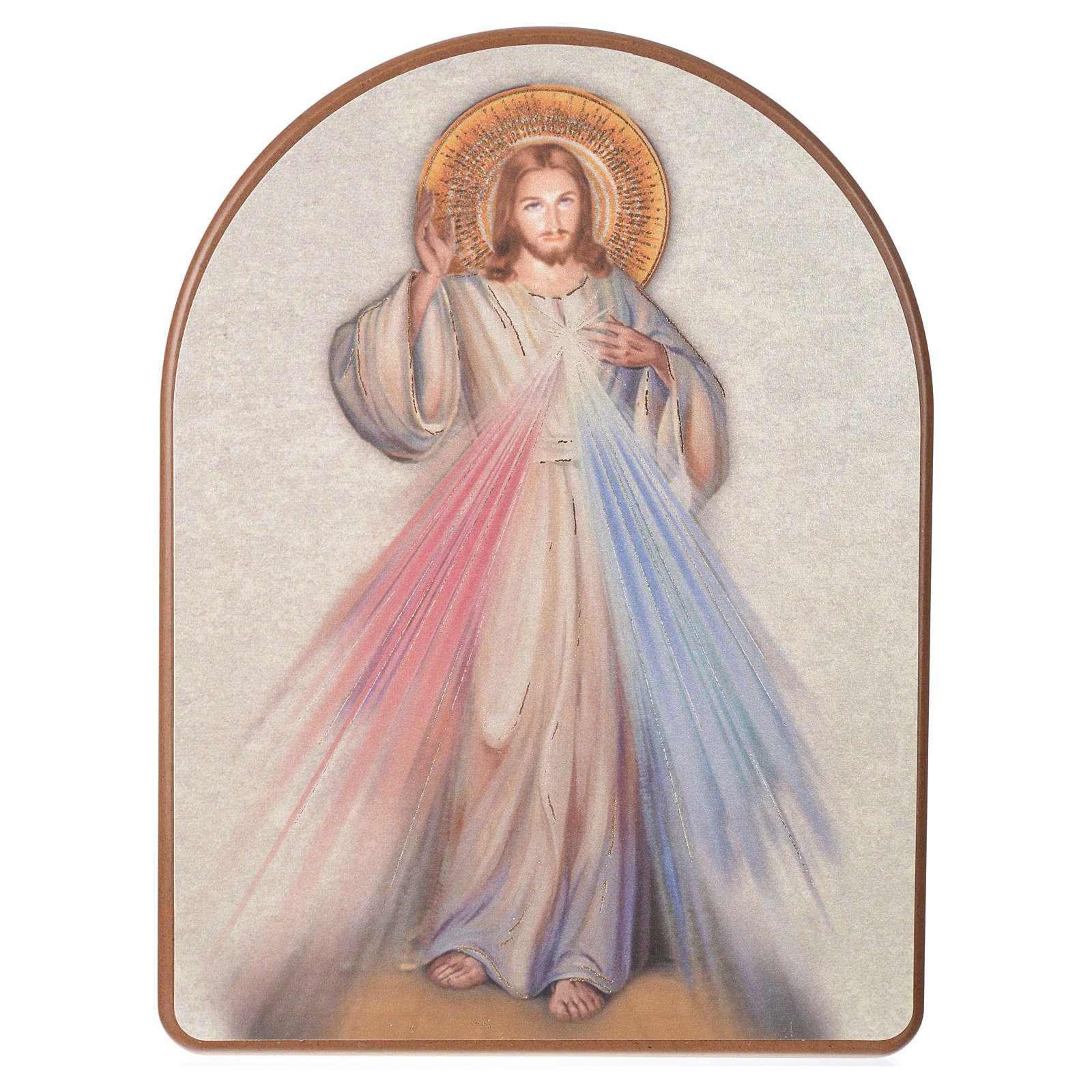 Druckbild auf Holz Barmherziger Jesus 15x20 cm 3