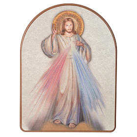 Cuadros, estampas y manuscritos iluminados: Estampa sobre madera 15x20 cm Jesús Misericordioso