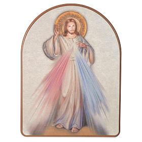 Quadri, stampe, codici miniati: Stampa su legno 15x20cm Gesù Misericordioso