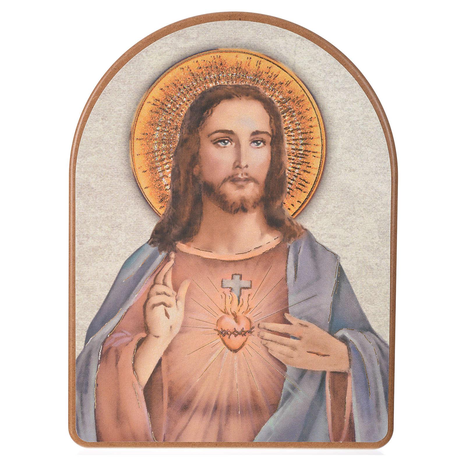 Print on wood, 15x20cm Sacred Heart of Jesus 3