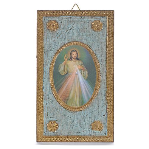 Impression sur bois Christ Miséricordieux 12,5x7,5 cm 1