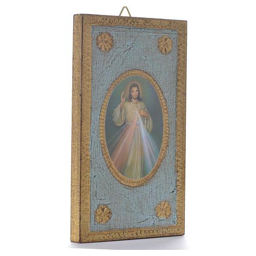 Impression sur bois Christ Miséricordieux 12,5x7,5 cm 2