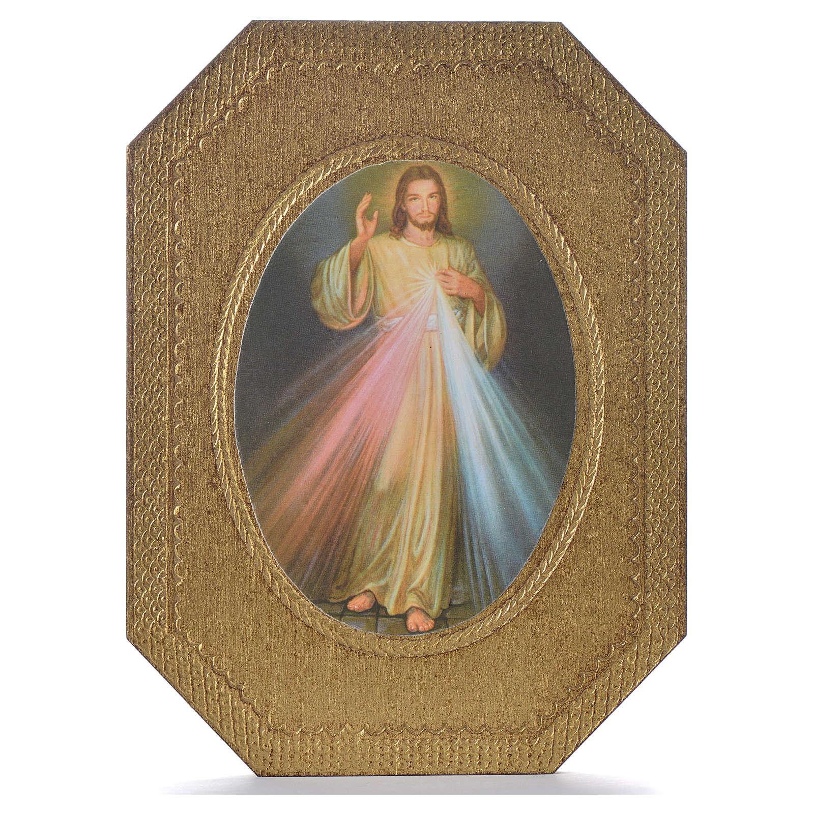 Impression sur bois taillé Christ Miséricordieux 19x14 cm 3