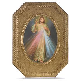 Impression sur bois taillé Christ Miséricordieux 19x14 cm s1