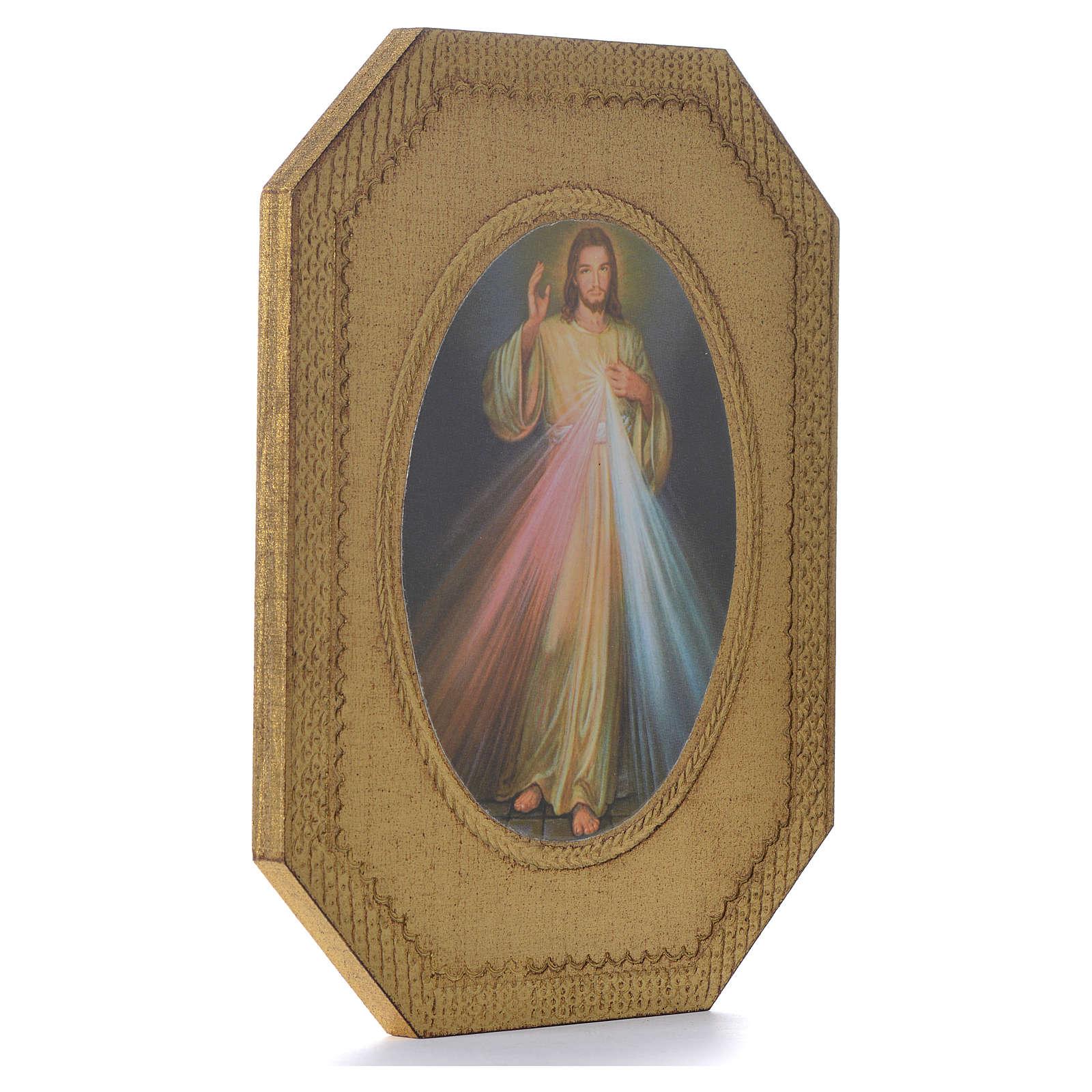 Divine Mercy shaped print on wood 19x14cm 3