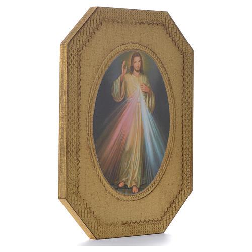 Divine Mercy shaped print on wood 19x14cm 2
