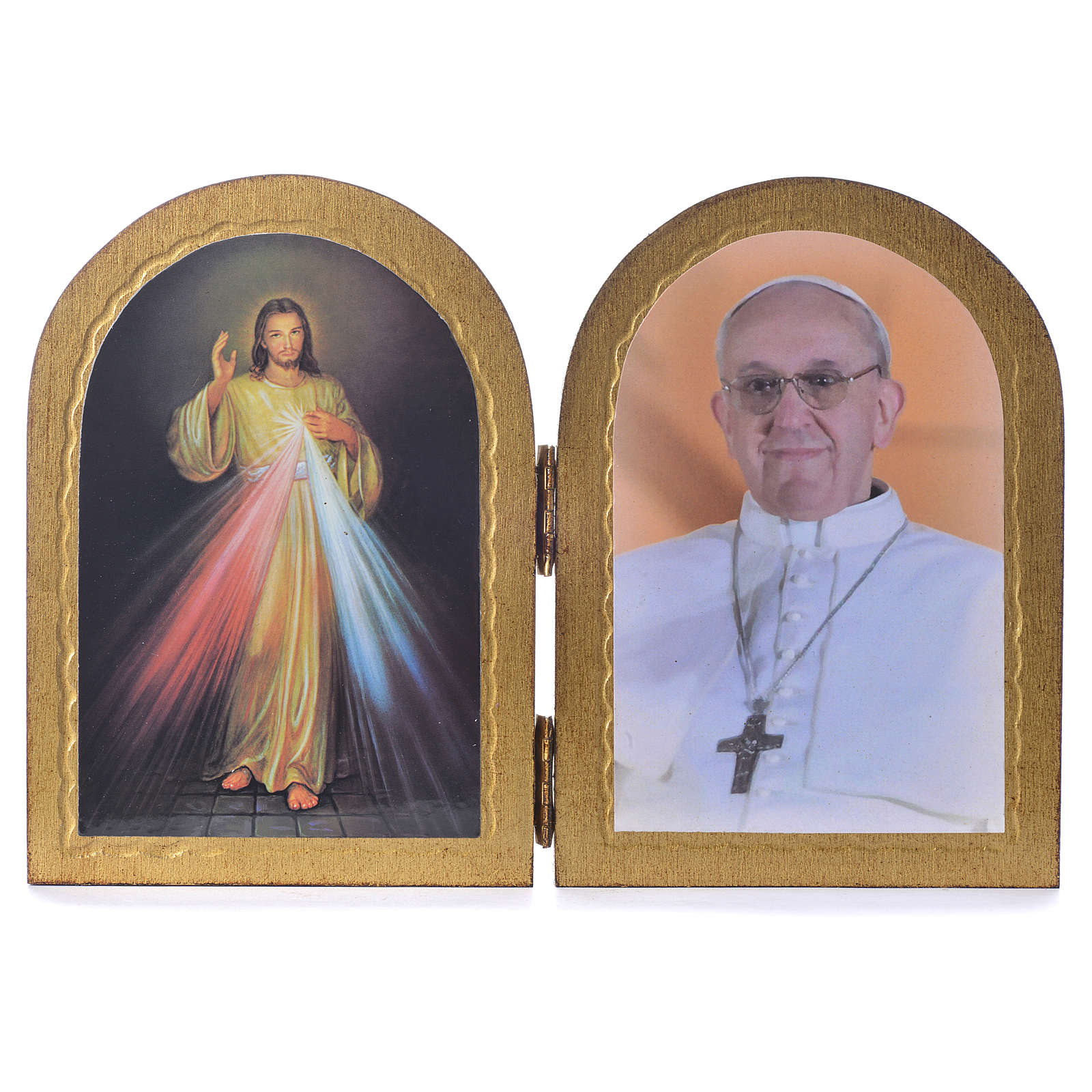 Ogival diptych Divine Mercy and Pope Francis 17x12cm 3