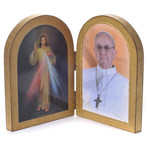 Ogival diptych Divine Mercy and Pope Francis 17x12cm 2