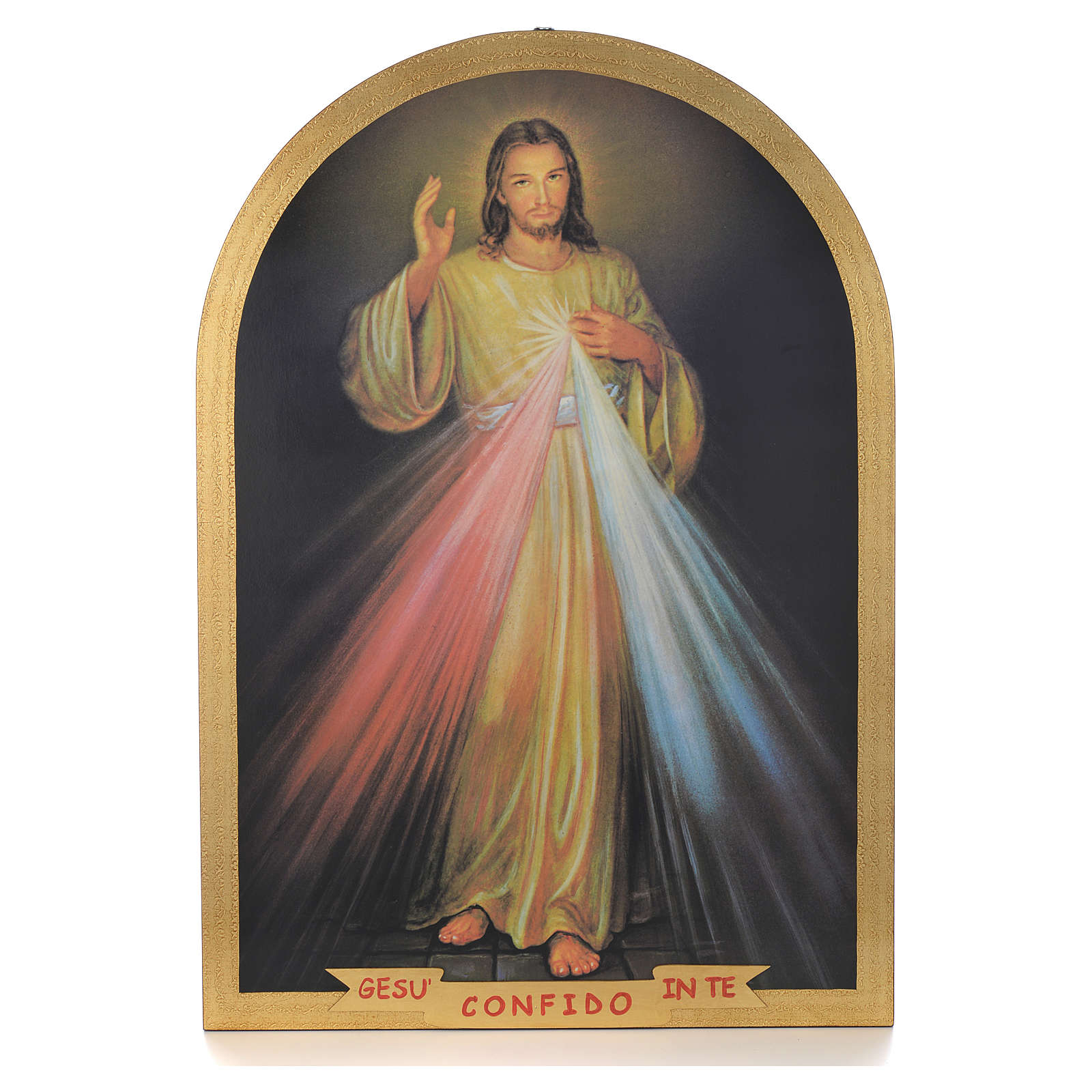 Divine Mercy ogival gold foil print on wood 99x69cm 3