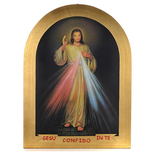 Cuadro de madera pan de oro Divina Misericordia 1