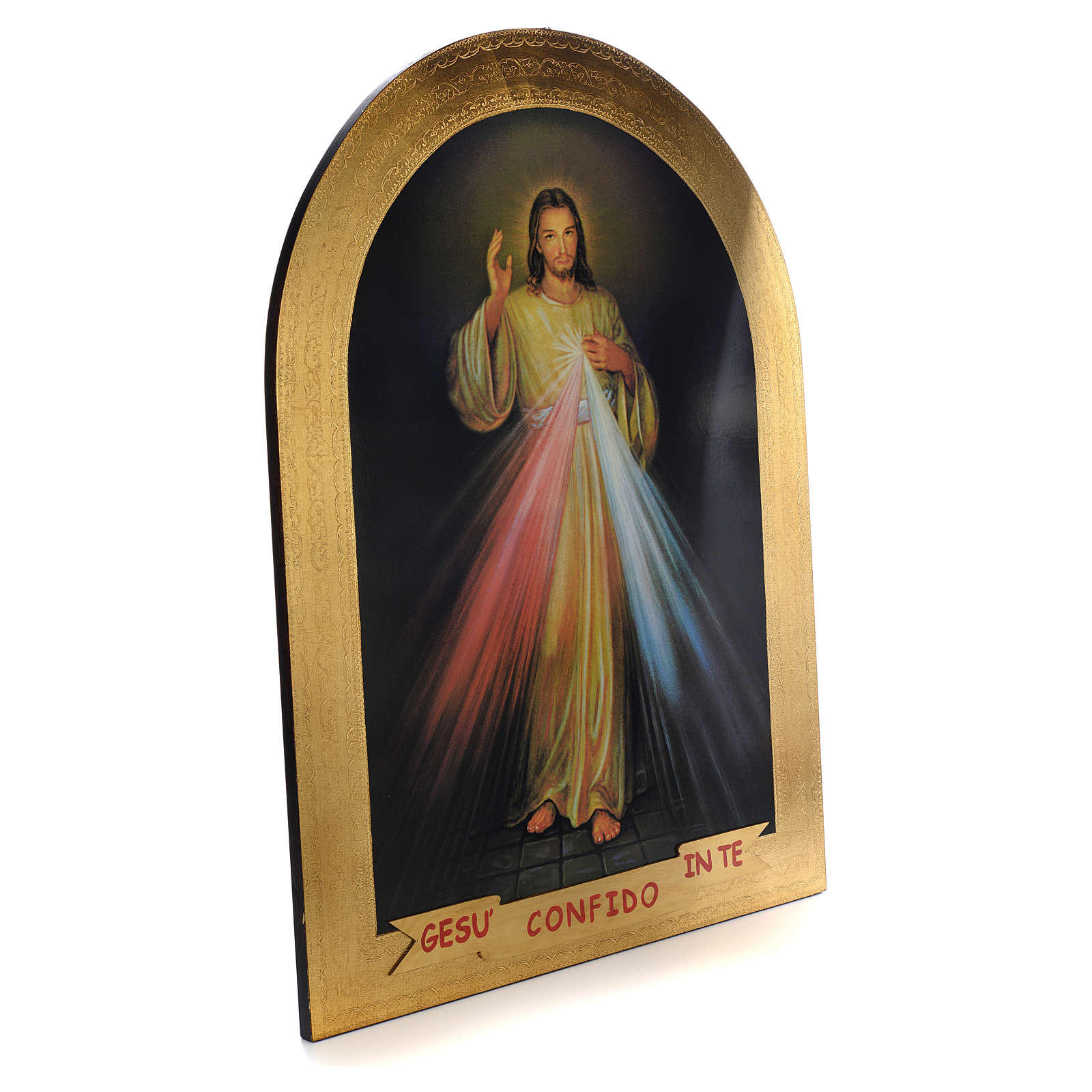 Impression sur bois feuille d'or Christ Miséricordieux 120x90 cm 3