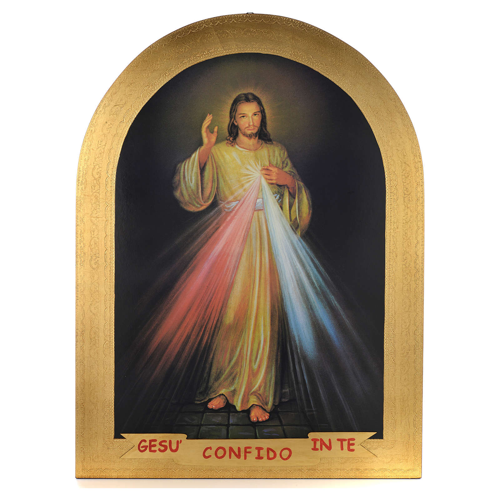 Stampa su legno foglia oro Divina Misericordia 120x90 3