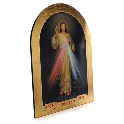 Stampa su legno foglia oro Divina Misericordia 120x90 2